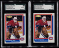 Hockey Cards:Lots, 1986 O-Pee-Chee Patrick Roy Blank Back SGC Graded Pair (2)....