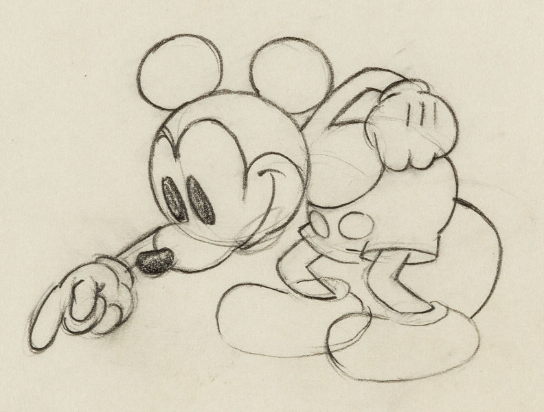 Line Drawing Mouse : Mickey mouse animation drawing walt disney c. 1930s . lot