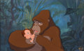 Animation Art:Presentation Cel, Tarzan Baby Tarzan and Kala Presentation Cel Setup (WaltDisney, 1999)....