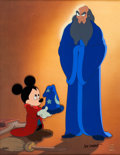 "Animation Art:Limited Edition Cel, ""Fantasia ""A Lesson Learned"" Mickey Mouse as The Sorcerer'sApprentice and Yen Sid Limited Edition Cel #244/300 (Walt ..."