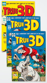 True 3-D #1 and 2 File Copies Box Lot (Harvey, 1953-54) Condition: Average VF/NM