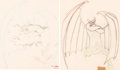 Animation Art:Production Drawing, Fantasia Chernabog and Demons Animation Drawing Group of 2 (Walt Disney, 1940)....