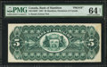 Canadian Currency: , Canada Hamilton, ON- Bank of Hamilton $5 Dec. 1, 1887 Ch. #345-14-02P Back Proof.. ...