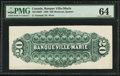 Canadian Currency: , Montreal, PQ- La Banque Ville-Marie $20 Jan. 2, 1889 Ch. #785-12-06P Back Proof. ...
