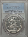Seated Dollars, 1868 $1 -- Polished -- PCGS Genuine. XF Details. NGC Census: (6/88). PCGS Population: (21/128). CDN: $700 Whsle. Bid for pr...