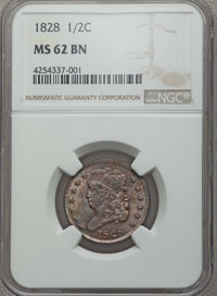 1828 1/2 C 13 Stars MS62 Brown NGC. NGC Census: (124/223). PCGS Population: (75/225). Mintage 606,000