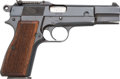 Handguns:Semiautomatic Pistol, FN Belgian Browning Hi-Power Semi-Automatic Pistol with Leather Holster....