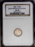 Seated Half Dimes: , 1841 H10C AU58 NGC. V-2. The last 1 in the date is low and recut,and a small lunule appears between stars 10 and 11. Sharp...