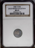 Seated Half Dimes: , 1858 H10C MS63 NGC. Deep cobalt-blue and crimson-magenta colorscollide on each side in a variegated fashion. There are no ...