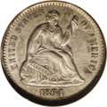 Seated Half Dimes: , 1864-S H10C AU58 NGC. A richly detailed and slightly subduedBorderline Uncirculated better date Half Dime. The strike is g...