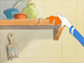 Animation Art:Painted cel background, Golden Eggs Painted Production Background with Cel Setup(Walt Disney, 1941)....