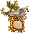 Estate Jewelry:Brooches - Pins, Multi-Stone, Freshwater Cultured Pearl, Gold Brooch. ...