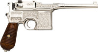 Engraved Early Mauser 1930 Commercial Broomhandle Semi-Automatic Pistol