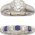Estate Jewelry:Rings, Diamond, Sapphire, Platinum Ring Set. ... (Total: 2 Items)