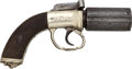 Handguns:Derringer, Palm, German Silver Mounted English Pepperbox with Exceptional Decoration....