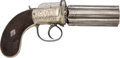 Handguns:Derringer, Palm, German Silver Mounted English Pepperbox with ExceptionalDecoration....