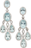 Estate Jewelry:Earrings, Aquamarine, Diamond, White Gold Earrings. ... (Total: 2 Items)