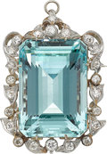 Estate Jewelry:Brooches - Pins, Aquamarine, Diamond, Platinum-Topped Gold Pendant-Brooch. ...