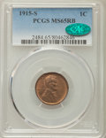 Lincoln Cents: , 1915-S 1C MS65 Red and Brown PCGS. CAC. PCGS Population: (37/1). NGC Census: (33/2). CDN: $1,200 Whsle. Bid for problem-fre...
