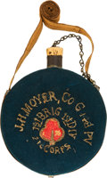 Arms Accessories:Tools, Striking, Historic Drum Canteen with Embroidered Wool Cover....