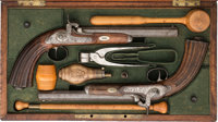 Cased and Engraved pair of Percussion Dueling Pistols