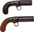 Handguns:Derringer, Palm, Lot of Two Blunt and Syms Pepperbox Percussion Revolvers.... (Total: 2 Items)
