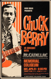 """Chuck Berry at The Memorial Coliseum (Northwest Releasing, 1970s). Concert Window Card (14"""" X 22""""). Rock and R..."""