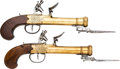 Handguns:Muzzle loading, Pair of Blunderbuss Dueling Flintlock Pistols with Bayonets....(Total: 2 Items)