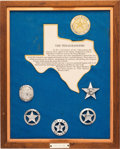 Western Expansion:Cowboy, Framed Display of Texas Rangers Commemorative Badges....