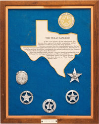 Framed Display of Texas Rangers Commemorative Badges