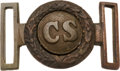 "Militaria:Uniforms, Civil War Confederate Two-Piece ""CS"" Sword Belt Plate...."