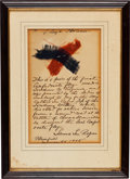 Military & Patriotic:Civil War, Confederate Flag: Two Swatches Given to Major Arthur Lee Rogers, the Designer of the Last Confederate Flag, in Framed Display ...