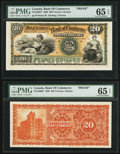 Canadian Currency: , Toronto, ON- Canadian Bank of Commerce $20 Jan. 2, 1888 Ch. #75-14-30P Face and Back Proofs.. ... (Total: 2 notes)