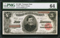 Large Size:Treasury Notes, Fr. 363 $5 1891 Treasury Note PMG Choice Uncirculated 64.. ...