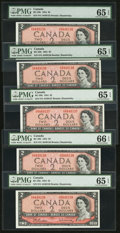 Canadian Currency: , BC-38b $2 1954 Five Consecutive Examples.. ... (Total: 5 notes)
