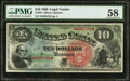 Large Size:Legal Tender Notes, Fr. 96 $10 1869 Legal Tender PMG Choice About Unc 58.. ...