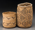 American Indian Art:Baskets, Two Wasco Twined Sally Bags. c. 1910... (Total: 2 Items)