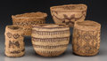 American Indian Art:Baskets, Five West Coast Basketry Items. c. 1900 - 1930... (Total: 5 Items)
