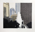 Fine Art - Work on Paper:Print, Richard Haas (American, b. 1936). Dallas Skyline, 1989.Etching with aquatint in colors. 29-1/2 x 31-1/2 inches (74.9 x ...