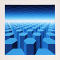 Prints, Yvaral (Jean-Pierre Vasarely) (French, 1934-2002). 50 Shades of Blue, circa 1970. Screenprint in colors. 29-1/2 x 29-1/2...