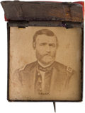 Political:Ferrotypes / Photo Badges (pre-1896), Ulysses S. Grant: Knapsack Cardboard Badge....