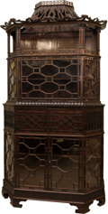 Furniture , A Fine English Chinese Chippendale-Style Padouk Pagoda-Form Carved Mahogany Cabinet after Richard Wright and Edward Elwick...