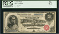 Large Size:Silver Certificates, Fr. 241 $2 1886 Silver Certificate PCGS New 62.. ...