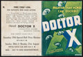 "Movie Posters:Horror, Doctor X (First National, 1932). Herald (4.75"" X 6""). Horror.. ..."