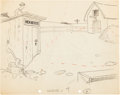 Animation Art:Production Drawing, Ride 'em Plow Boy Oswald Cartoon Background Layout Drawing(Walt Disney, 1928)....