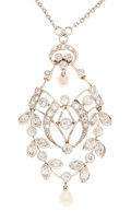 Estate Jewelry:Necklaces, Antique Diamond, Pearl, White Gold, Platinum-Topped Gold Necklace....