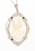 Estate Jewelry:Pendants and Lockets, Shell Cameo, Diamond, Synthetic Sapphire, Seed Pearl, PlatinumPendant-Necklace. ...