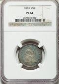 Proof Seated Quarters, 1863 25C PR64 NGC. Briggs 4-D....