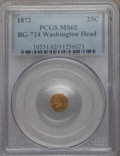 California Fractional Gold , 1872 25C Washington Octagonal 25 Cents, BG-724, High R.6, MS62PCGS....