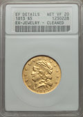 Early Half Eagles, 1813 $5 BD-1, R.2 -- Ex-Jewelry, Cleaned -- ANACS. XF Details, NetVF20....